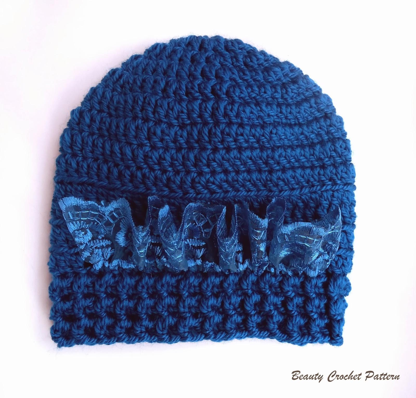 Lacy Crochet Baby Hat Pattern Free : Beauty Crochet Pattern: BABY CROCHET HAT PATTERN WITH LACE ...