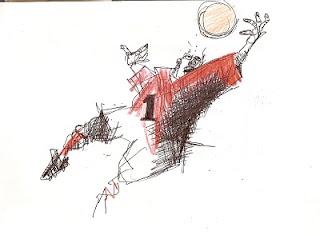 a desenhar Jogadores e goleiro com bola em campo colorir