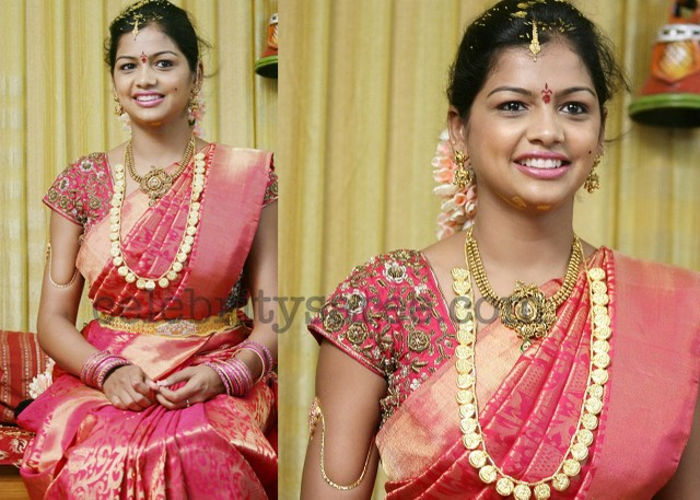 Silk saree with gold border and gold woven rich work all over saree