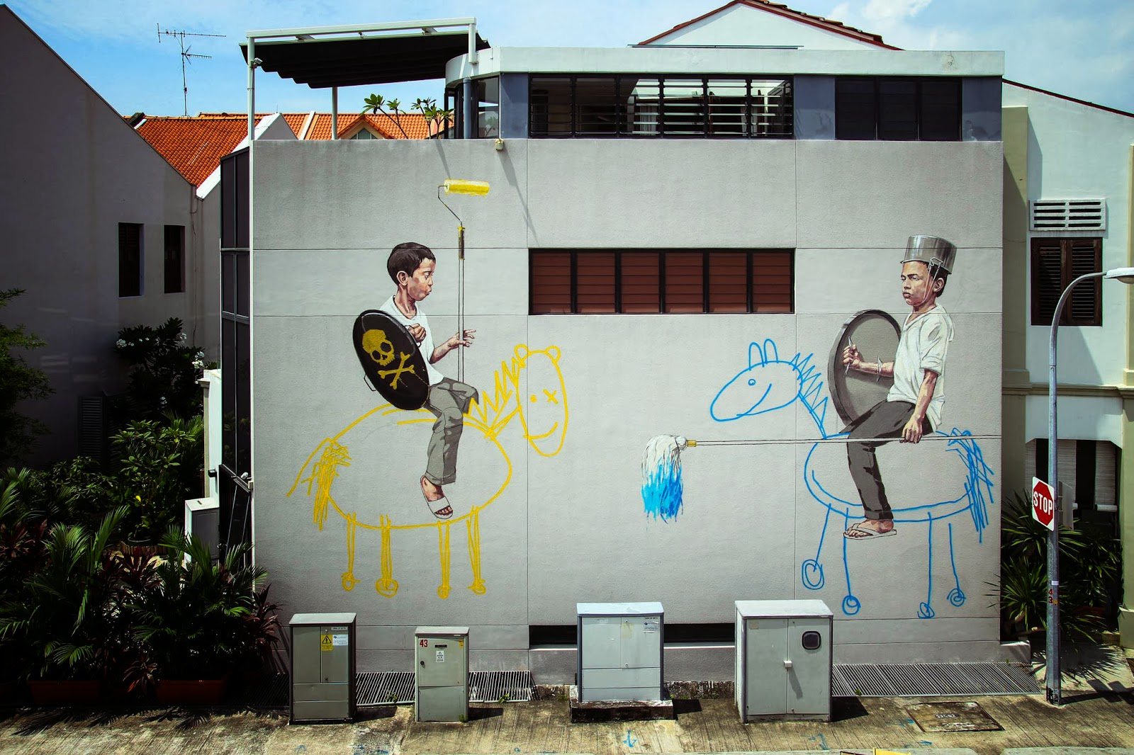 Ernest zacharevic new street pieces singapore city part for Mural 1 malaysia