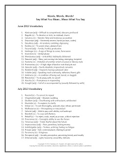 Middle and High School SAT Vocabulary Lists for June and July
