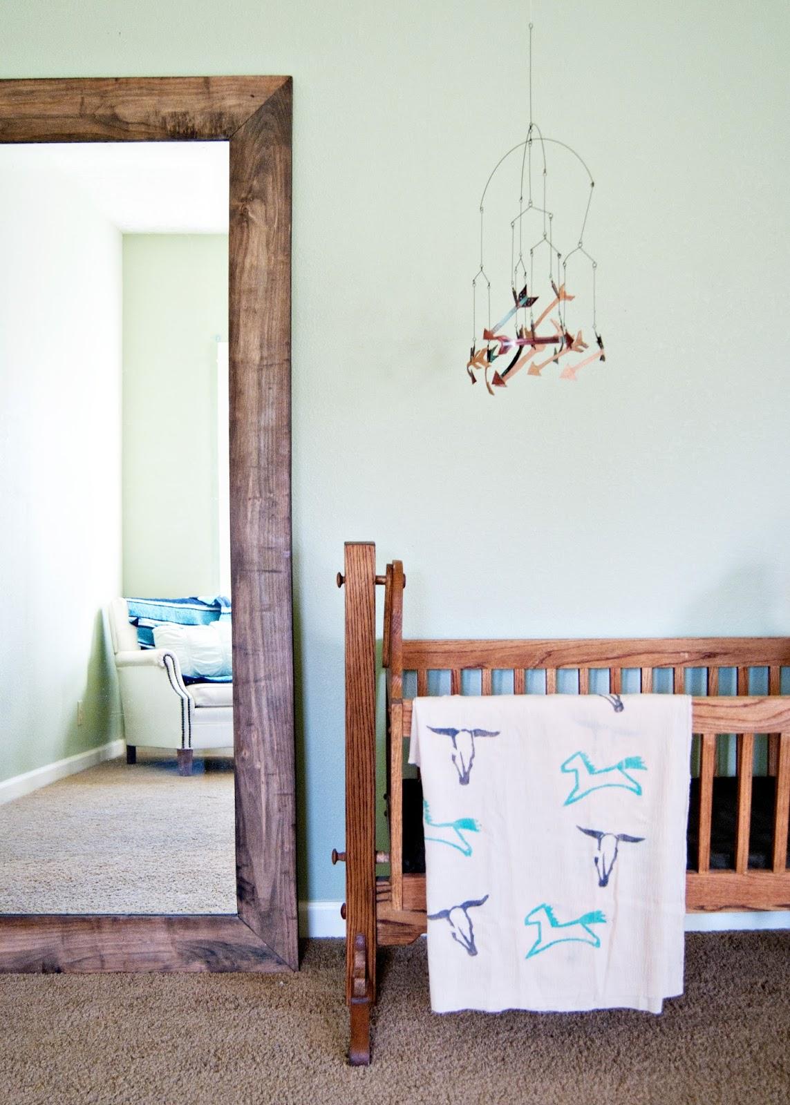 Baby Space - handmade cradle, vintage handmade mirror and DIY Leather arrow mobile