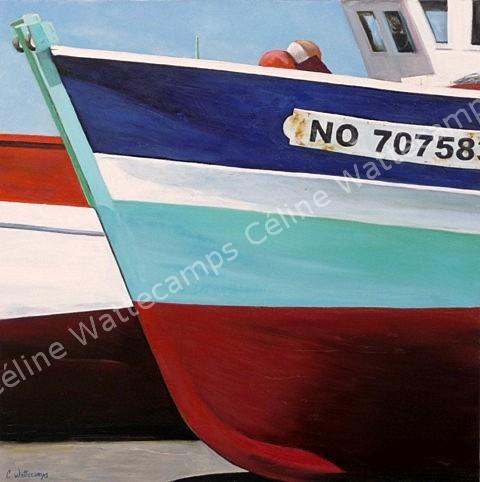 Celine wattecamps artiste peintre tableau bateau p che coque - Peinture coque bateau ...