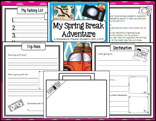 https://www.teacherspayteachers.com/Product/Spring-Break-Adventure-Homework-Packet-562080