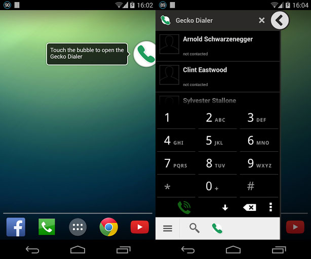 Disfruta del marcador de Android en un icono flotante con Gecko Dialer