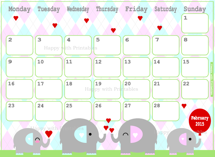 february, Etsy Shop, 2015 planner, february 2015, valentine, kawaii, kawaii calendar, calendar for children, cue calendar, sweet calendar