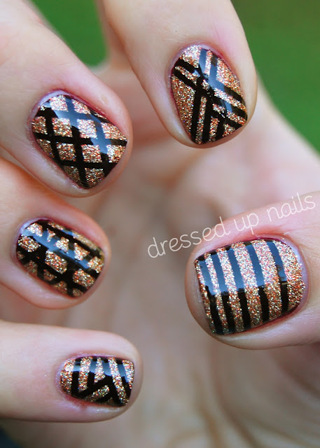 China Glaze On Safari striping tape nail art - Prey Tell and I Herd That