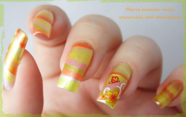 Nail Art Water marble d' Automne3