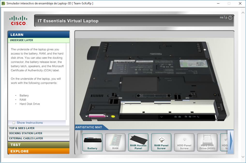 Simulador interactivo de ensamblaje de laptop 3d portable for Simulador de ambientes 3d