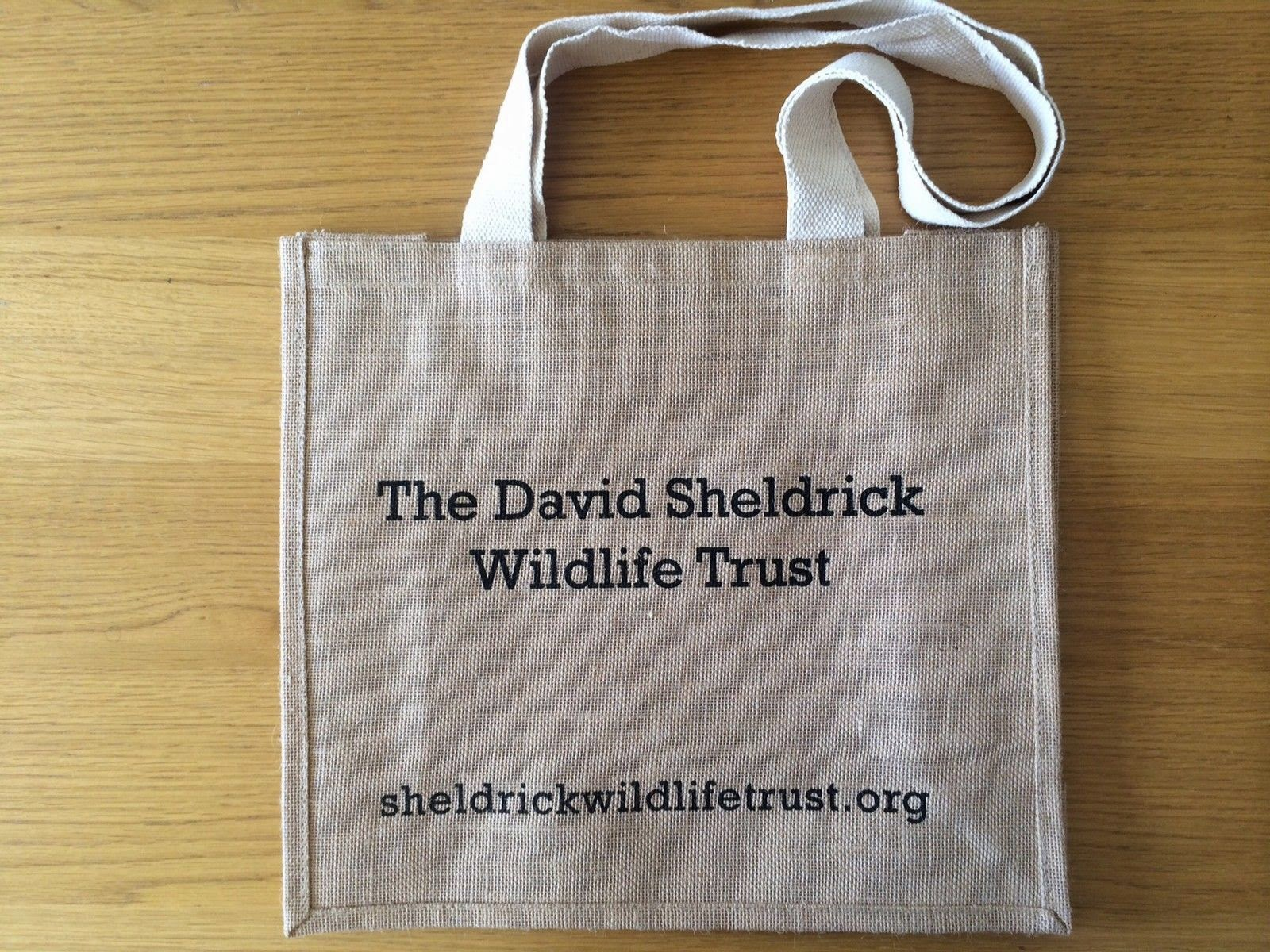 PROTECT Organic Jute Bag back - David Sheldrick Wildlife Trust - Hello, Handbag