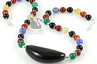 Most Pinned! Onyx Indian Agate Gemstone Beaded Necklace (N092)