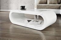 luxusny konferencny stolik v bielej lesklej farbe, dizajnový konferencny stolik