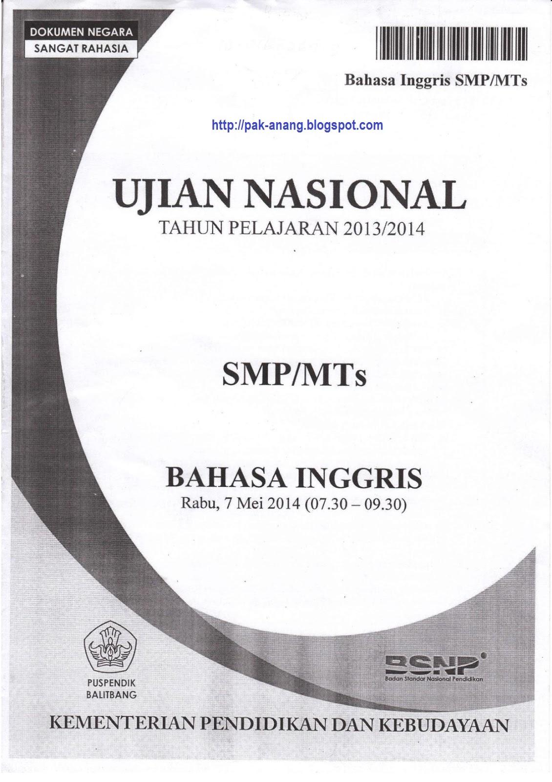 Berbagi Dan Belajar Naskah Soal Un Bahasa Inggris Smp 2014 Paket 1