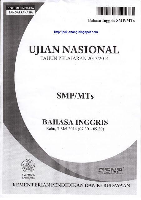 Naskah Soal Un Bahasa Inggris Smp 2014 Paket 1