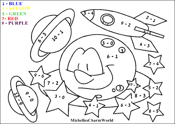 Subtraction Coloring Pages