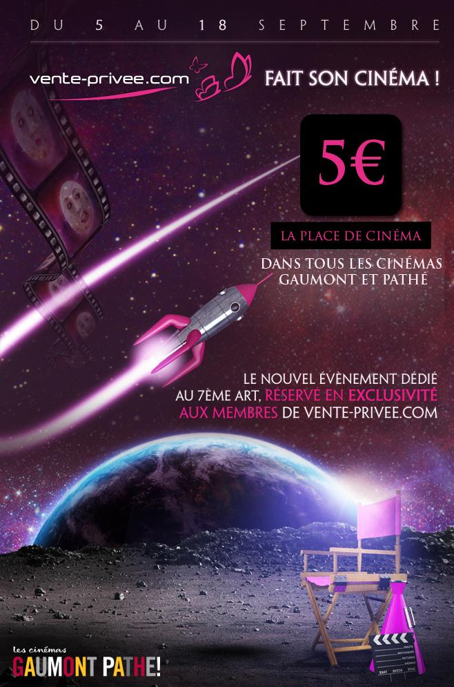 Vente-privée: Place de cinéma Gaumont Pathé à 5€