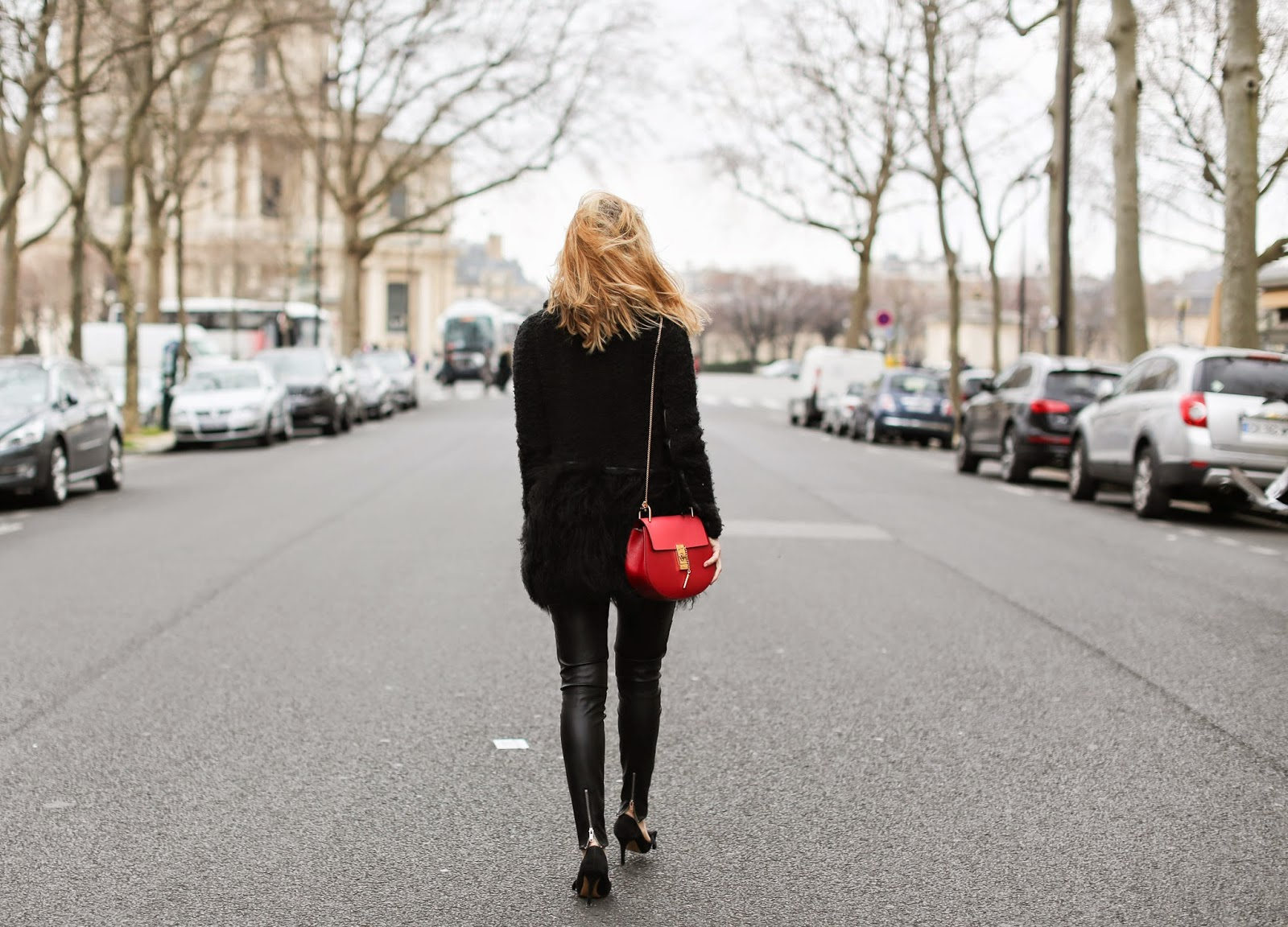 fur, leather, all black, chloé drew, isabel marant, zara, streetstyle, paris