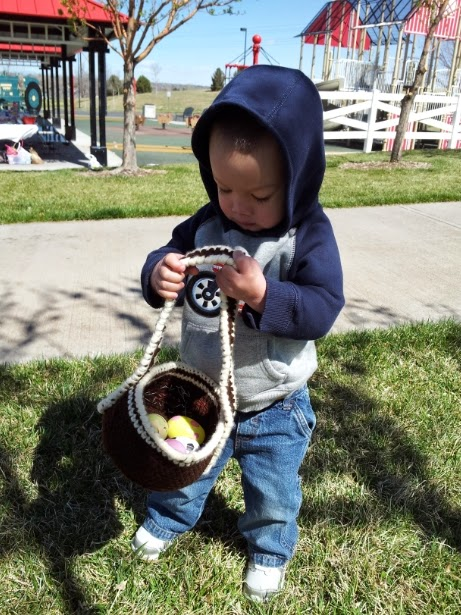 Simple brown crochet Easter egg basket