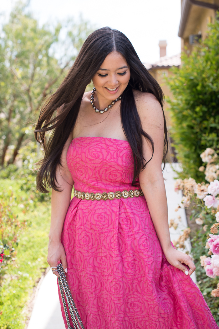 pink wedding guest dress