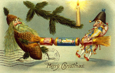 Victorian Christmas cracker post card
