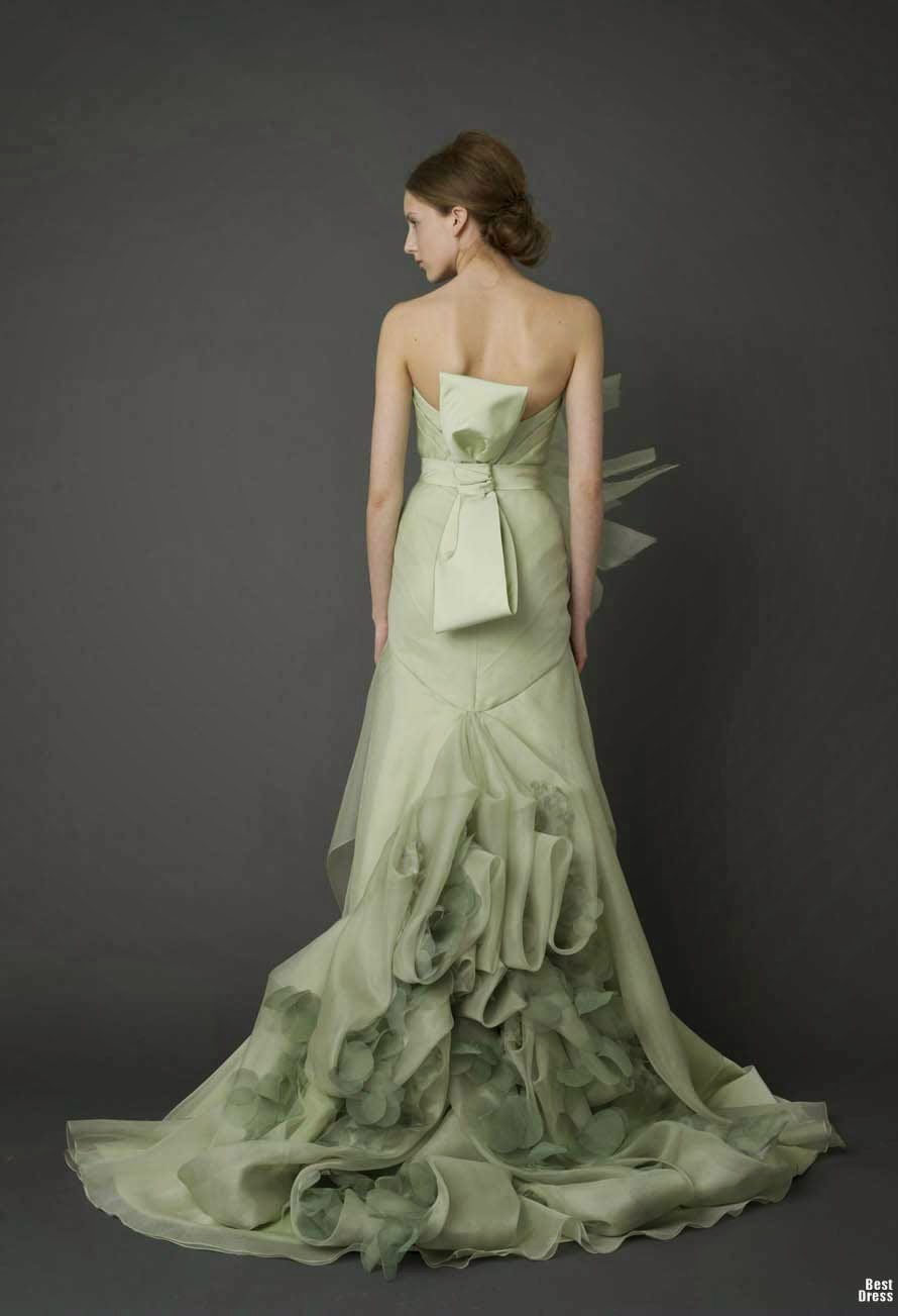 Wedding Dresses With Green Color Photos Concepts Ideas