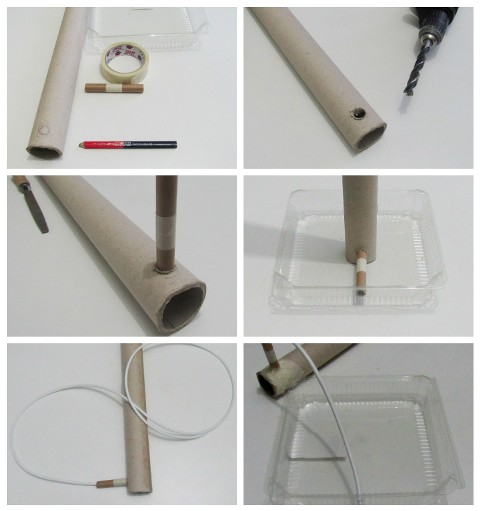 Diy c mo hacer una l mpara de pie con material reciclado - Estructuras para lamparas ...