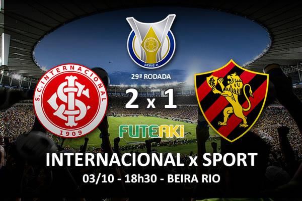 Veja o resumo da partida com os gols e os melhores momentos de Internacional 2x1 Sport pela 29ª rodada do Brasileirão 2015.