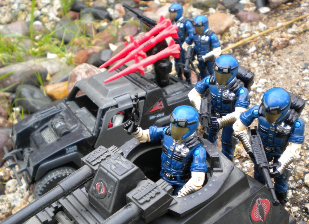 1998 Cobra Trooper, Viper, TRU Exclusive, Cobra Officer, 1984 Stinger, 1983 Hiss Tank, Stinger Driver, hiss Driver