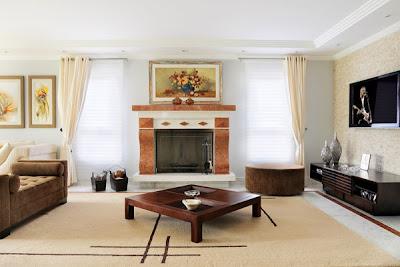 Modernas salas color tierra en el 2012 decoracion de salones - Decoracion de chimeneas en salones ...