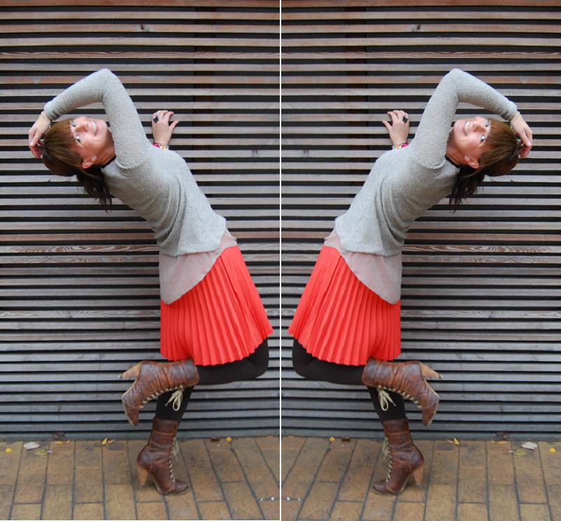 "Orsay Outfit: orangenes Multitalent mit ""schrägem"" Pulli"