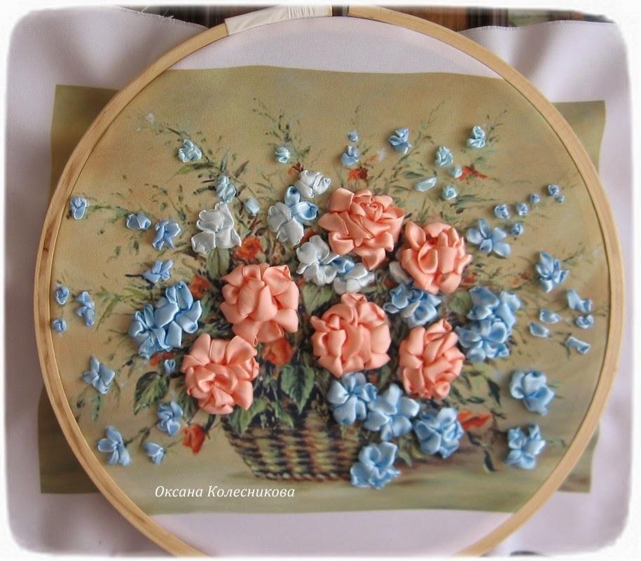 Вышивка лентами цветы в корзине фото 19