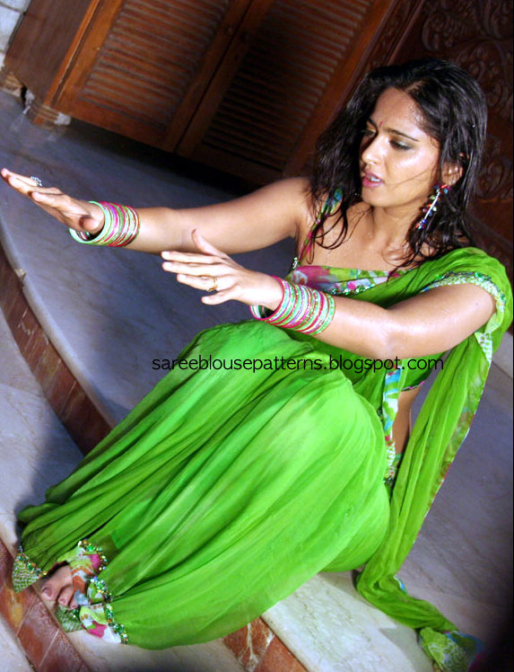 Anushka In Green Georgette Wet Saree