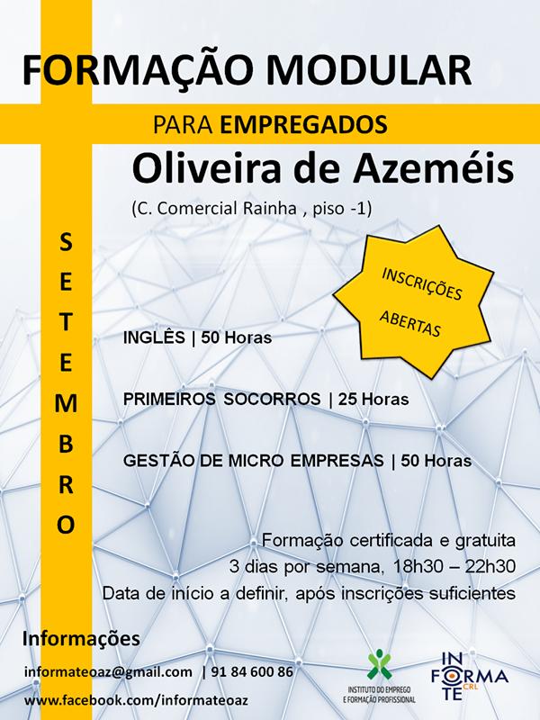 Formação modular certificada / gratuita para empregados em Oliveira de Azeméis