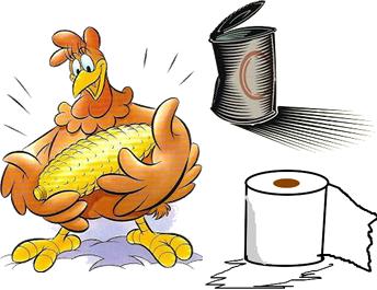galinha, papel higiênico, lata