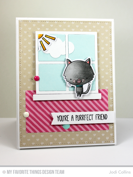 Purrfect Friend Card by Jodi Collins featuring the Cat-tude stamp set and Die-namics, Miss Tiina Things with Wings stamp set and Die-namics, Mini Hearts Background stamp, and the Window and Puffy Clouds Die-namics #mftstamps