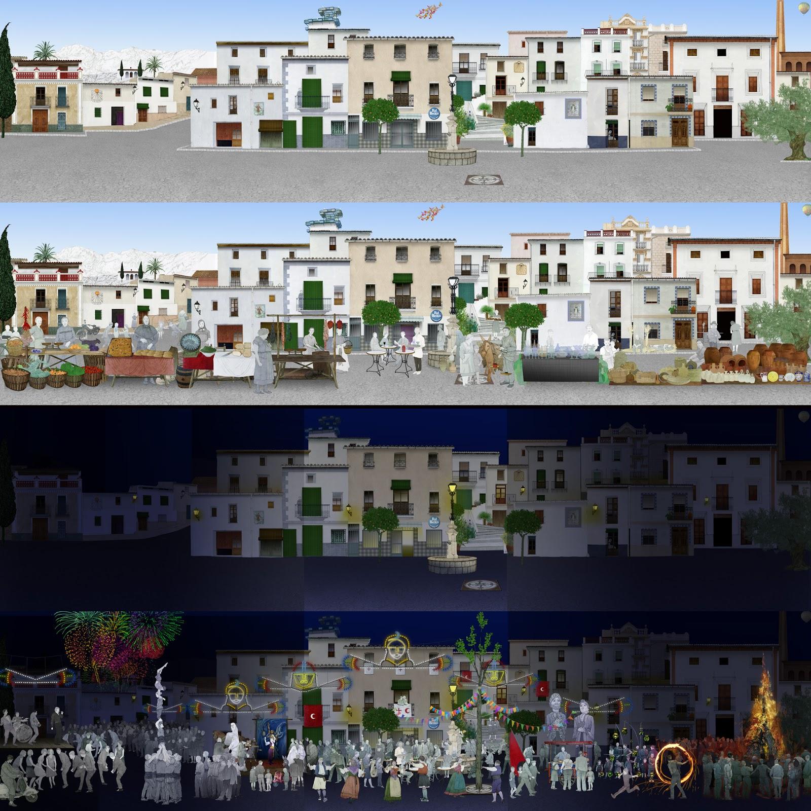 Calle, mercado, fiestas, ciclos, Vall de Albaida, dibujo