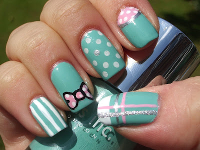 emilys+nail+files+nails+inc+haymarket+nail+art+turquoise+bow+stripe+polka+dot+konad+1 Turquoise Nails with Decorations