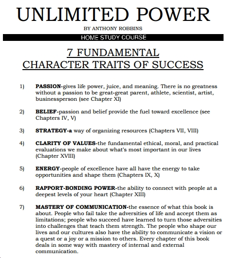 7 fundamental characters traits success