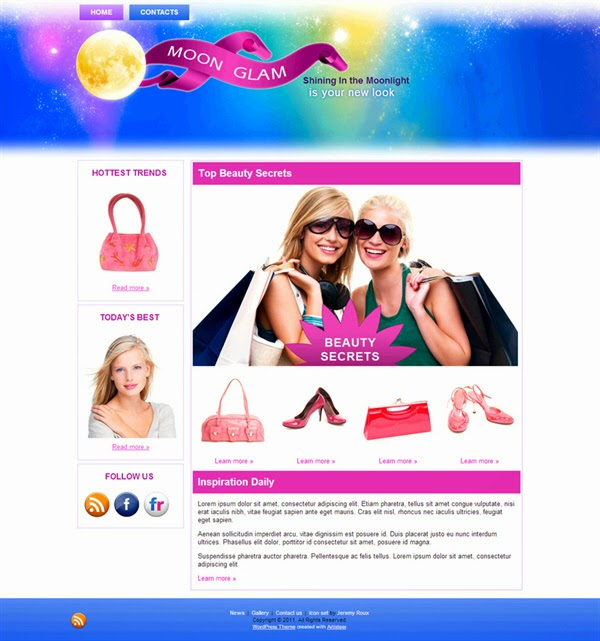 Moon Glam - Free Wordpress Theme