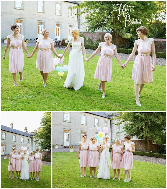 fun bridesmaids photo, eshott hall, eshott hall wedding, morpeth wedding, katie byram photography, vintage wedding