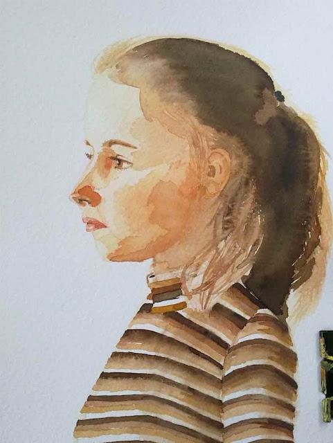 retrato en acuarela