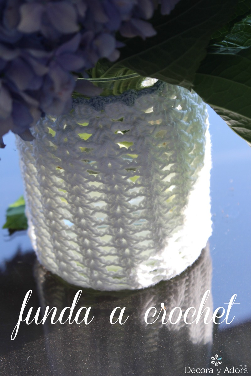 diy funda frasco crochet