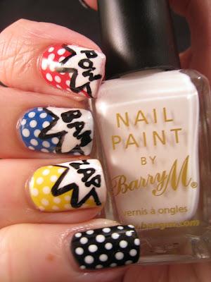 Litchenstein-nail-art-red-blue-yellow-white-black-polis