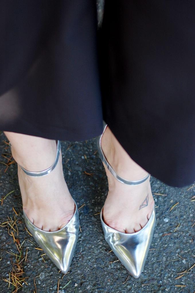 Silver Ivanka Trump heels
