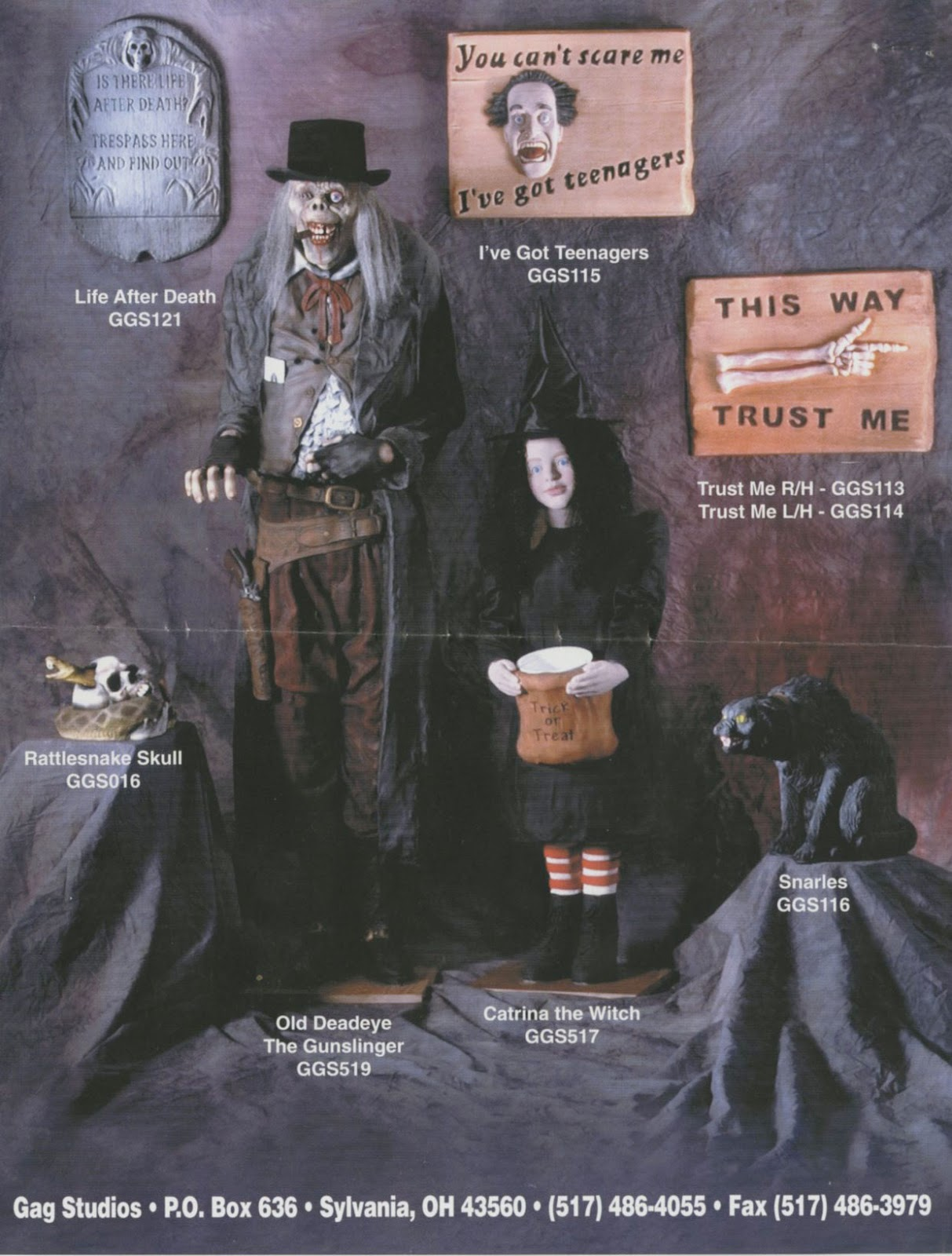 these single page flyers contain a few of my all time favorite halloween props the count the count casket and the haunted knight - Halloween Catalogs