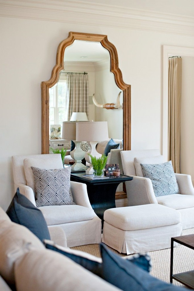 Thoughts on blue white love it or leave it julia ryan for White mirrors for living room