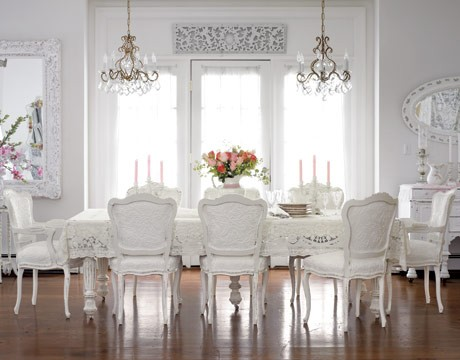 gorgeous light bright traditional style white dining room crystal chandelier