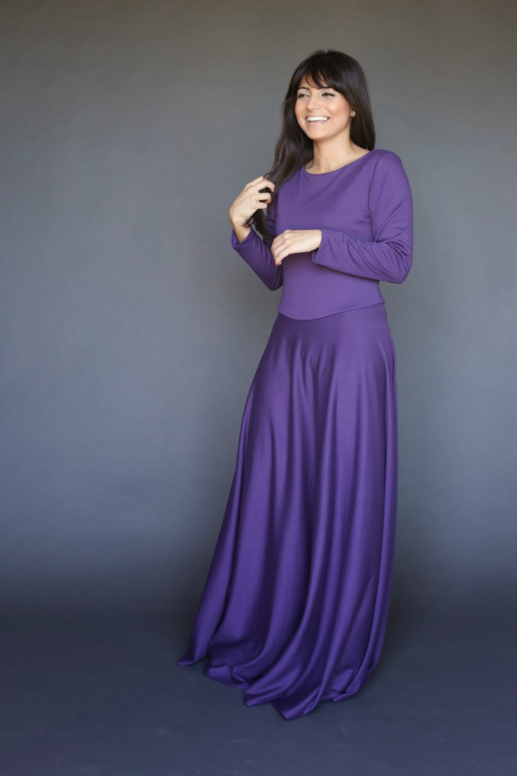 royal purple long sleeve modest maxi dress with full skirt full length formal dress hijab tznius mormon mission Mode-sty