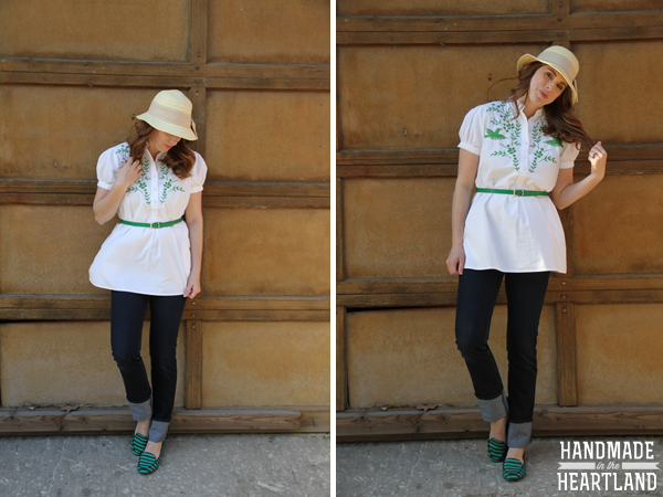 Embroidered tunic, straw hat & green stripe loafers