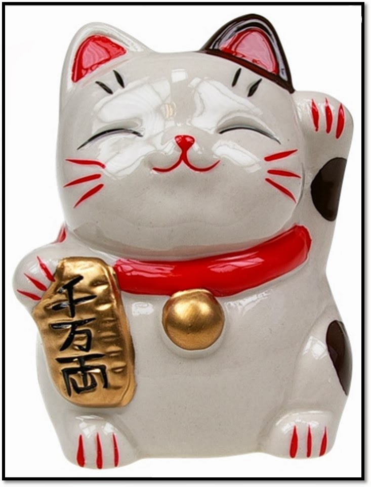 chat porte-bonheur restaurants japonais maneki neko chat blanc patte levée salut